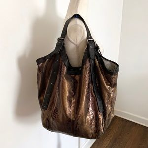 Cynthia Vincent Berkely Snake Embossed hobo bag